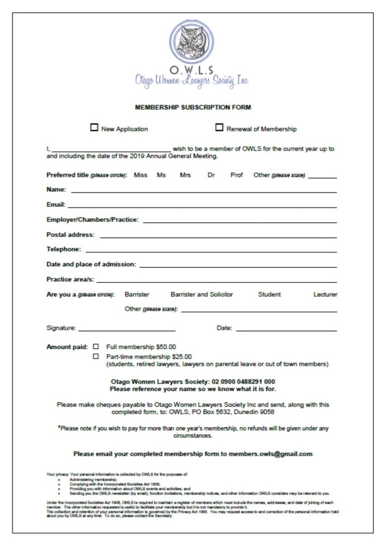 OWLS membership form 2018